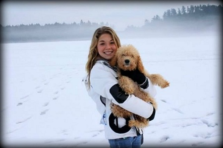 Anastasia with Labradoodle Puppy